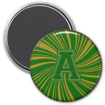 Collegiate Letter Magnet Green-Gold-A