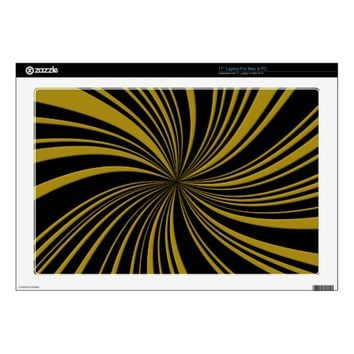 School Colors Black-Gold Twirl Laptop Skin 17""