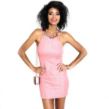 Coral Glitter Fitted Jeweled Front Dress