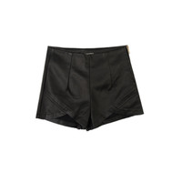 Faux Leather Asymmetric Shorts