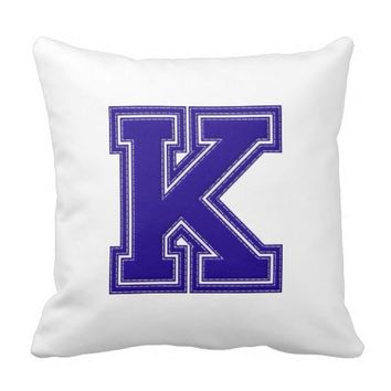 Collegiate Letter Throw Pillow, Blue & White K