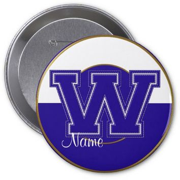 School Monogrammed Button, Blue-White Letter W