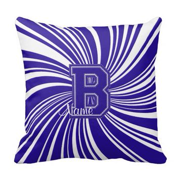 School Colors Monogram Pillow Blue-White B
