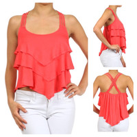 In Style Coral, White or Turquoise Cropped Tier Layered Tank