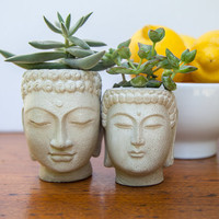 Two Buddha Head Planters - #1 and #2