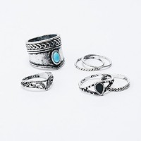 Turquoise Statement Ring Pack in Silver - Urban Outfitters