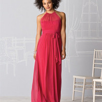 Chiffon Ruffle Sash Round Neck Floor Length Bridesmaid Dresses