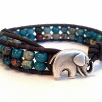 Aqua Terra Leather Beaded Wrap Bracelet Elephant by PZWDesign