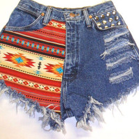 Vintage Wrangler High Waist Denim Shorts by Turnupthevolume