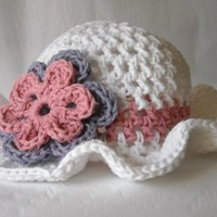 Crochet Floppy Brim Hat in White with Flowers by PeanutsCrochet