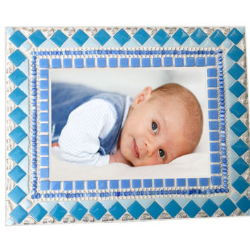 Blue Mosaic Picture Frame -- Baby Boy Nursery Decor