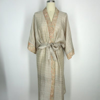 Silk Robe Kimono / Hand Made / Vintage Indian Sari / Muted Tan Sage Chevron Print / Limited Edition