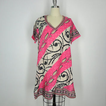 Kaftan Dress / Tunic Caftan / Swim Coverup / Handmade / Vintage Indian Cotton Sari / Pink Leaf Print / Limited Edition / Size S Small