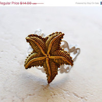 HALF OFF Starfish Ring Metallic Bronze on White Beach by waterwaif