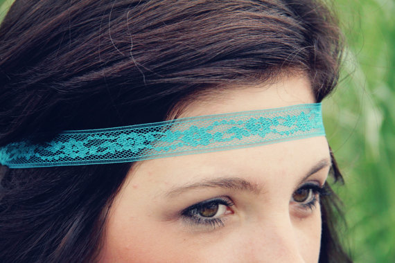 $6.00 The Classic Lace Headband in Teal beautiful strand by adelitakelly