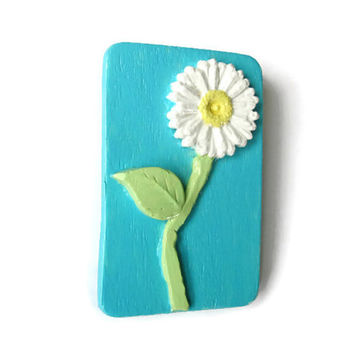White Daisy Brooch, hand painted wooden jewelry, 3D daisy pin with turquoise sky