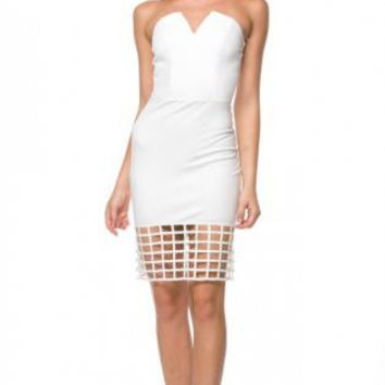 White Strapless Caged Bodycon Dress