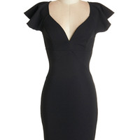 ModCloth LBD Mid-length Cap Sleeves Shift, Bodycon Pinot Noir, Please Dress in Black