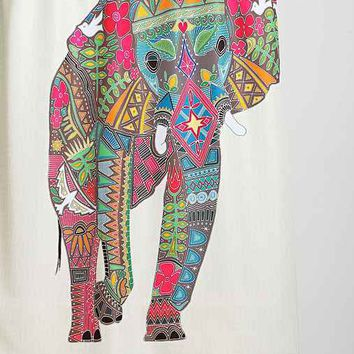 Painted Elephant Shower Curtain