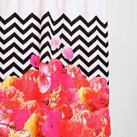 Chevron Floral Shower Curtain
