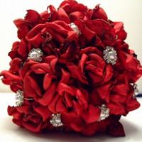 Red Bridal Bouquet, Fabric Flowers Bouquets, Wedding Bouquet, Wedding Flowers