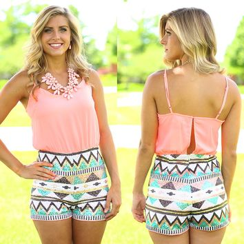 Tres Chic Tribal Romper in Coral