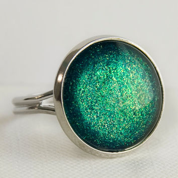 Seafoam Castle Ring in Silver - Turquoise, Green and Yellow Glitter Ring