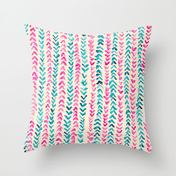 Hand Painted Herringbone Pattern in Pink & Turquoise  Throw Pillow by Tangerine-Tane
