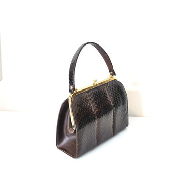 1950s snakeskin tote / 50s structured handbag toggle purse