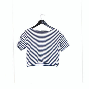 early 90s GRUNGE striped nautical relaxed fit cropped Tshirt