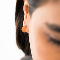 ROSE GOLD CIRCLE SLICE EARRINGS by carolyn a'hearn for Of a Kind