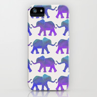 Follow The Leader - Elephant Pattern in Royal Blue, Purple, & Mint iPhone & iPod Case by Tangerine-Tane