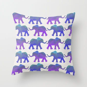 Follow The Leader – Painted Elephants in Royal Blue, Purple, & Mint Throw Pillow by…