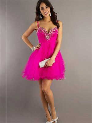 Short Spaghetti Straps Empire waist with Beadings Tulle Homecoming Dress PD1888