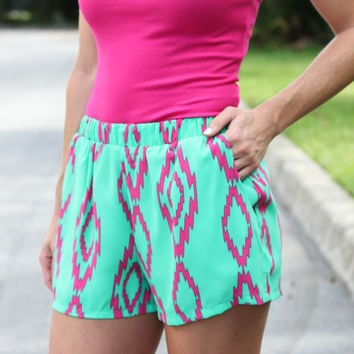 Touch Of Aztec Shorts  Green