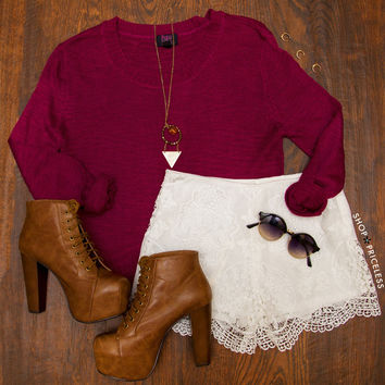 Indie Queen Sweater  Burgundy