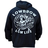 "Men's ""Low Life"" Zip Hoodie by Lowbrow Art Company (Black)"