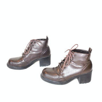 size 8 chunky platforms GRUNGE lace up brown chunky ankle boots