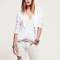 Womens Linen Blazer - White,
