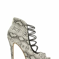 Come Slither Laced Snake Scale Heels