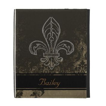 Brown Tan Damask Fleur de Lis iPad Case