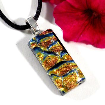 Orange and Gold Dichroic Glass Pendant, Granite Stone Look, Fused
