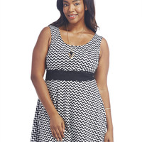Chevron & Lace Skater Dress | Wet Seal