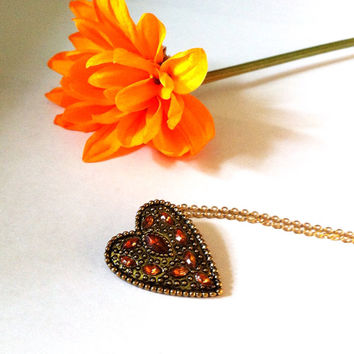 Topaz rhinestone encrusted heart necklace, heart pendant, gold heart necklace, vintage style heart, topaz necklace, gifts for her, november