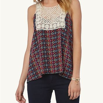 Aztec Caged Back Crochet Top