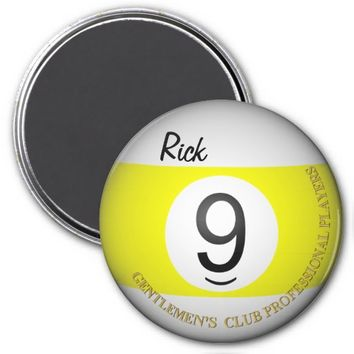 Gentlemens Club Billiards 9 Object Ball Magnet