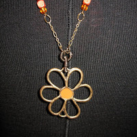 Long orange flower necklace by Tarikajewellery on Etsy