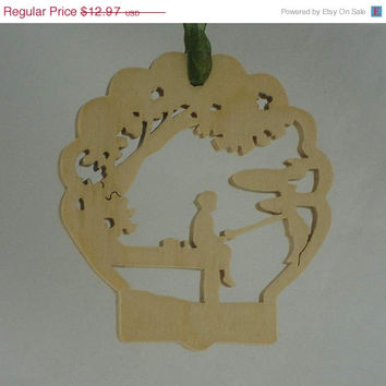Christmas In July Sale Dock Fishing Scene Christmas Ornament Handmade From Birch Plywood