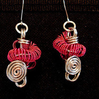 Funky pink earrings by Tarikajewellery on Etsy