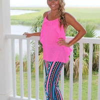 Bangles Boutique — ROYAL & HOT PINK AZTEC PALAZZO/YOGA PANTS